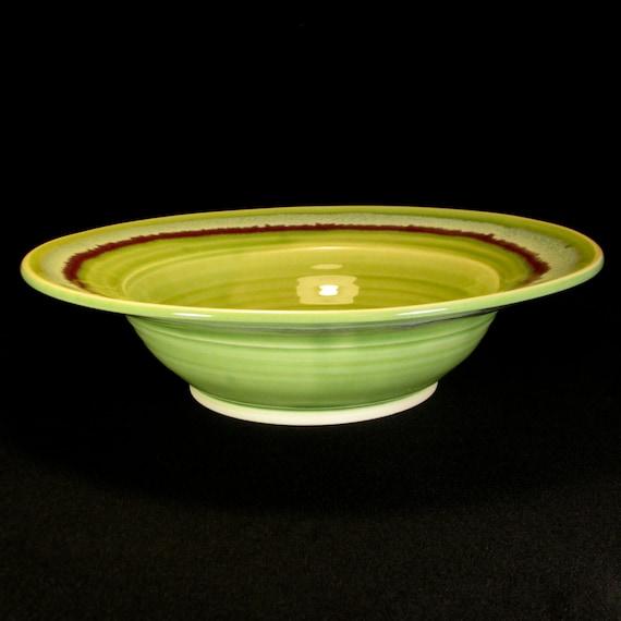 Green Bowl - Ceramic Bowl - Green Serving Bowl - Green Bowl with Flared Rim - Pottery Bowl - InStock