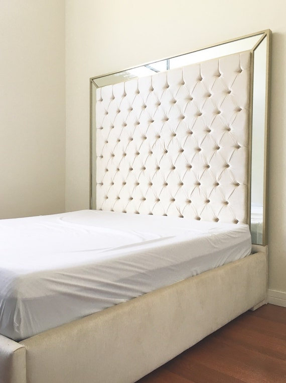 extra tall king bed tufted headboard king size by newagainuph. Black Bedroom Furniture Sets. Home Design Ideas