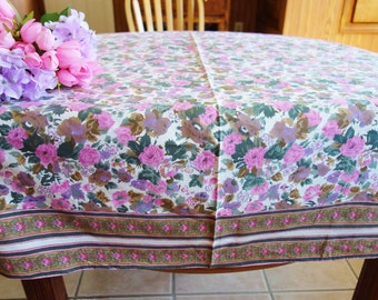 Pink Purple Cotton Tablecloth, Vintage Purple Tablecloth, Pink Floral Tablecloth