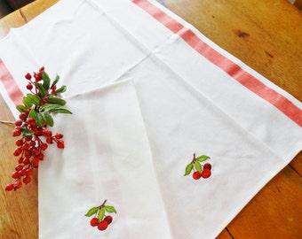 NOS Cherry Kitchen Towels, Martex Kitchen Towels, Red Cherries, Red Martex Towels, Farmhouse Kitchen Towels, Machine Embroidered Towels,