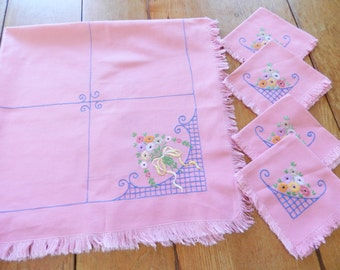 Pink Table Topper, Tablecloth and Napkins, Hand Embroidered Tablecloth and Napkins, Pink Napkins, Pink Tablecloth