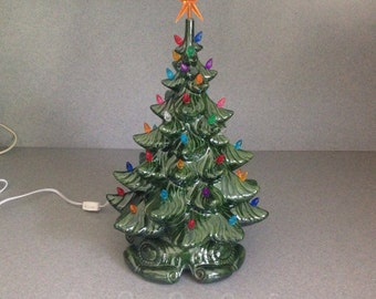 Large Old Fashion green Ceramic Christmas Tree 18 inches Tall    Ready to ship # A082616