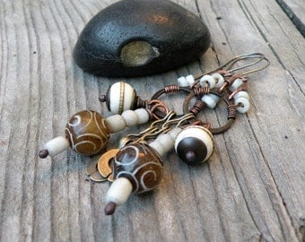 Rustic Chandelier Earrings, Earthy White, Dangle Earrings, Handmade, Niobium Earwires