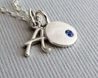 Birthstone Charm Necklace, Initial And Birthstone Necklace, Personalized Gift, Initial Jewelry, Custom Jewelry, Personalized Jewelry