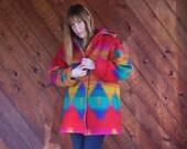 30% off ... Rainbow Navajo Southwestern Hooded Wool Parka Coat - Vintage 80s - MEDIUM M