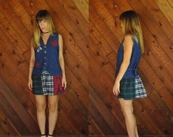 extra 25% off SALE ... Denim and Plaid Flannel Patchwork Drop Waist Mini Dress - Vintage 90s - MEDIUM M Petite
