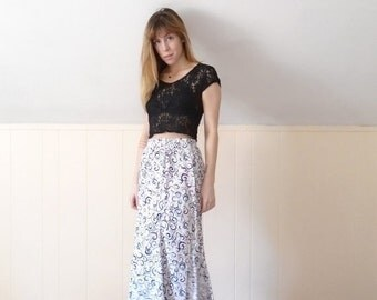 30% off ... 90s Swirl Print High Waist Long Calf Ankle Length Skirt - MEDIUM M