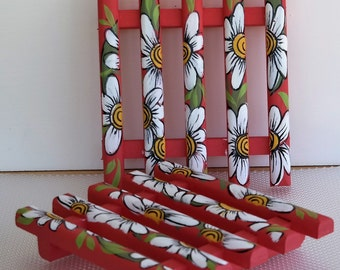 Firecracker Red Daisy Trivet Set , Handcrafted , Hand Painted