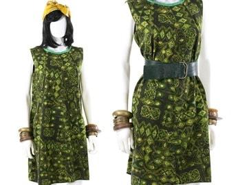 Tiki Sundress Vintage 1950s Shift Dress Scooter Dress Vintage Green Novelty Print Barkcloth Dress Size S/M