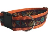 "1.5"" Pretty Fall Leaves Dog Collar or Martingale"