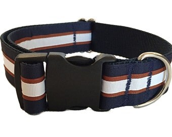 "1.5"" Navy and White Stripe - Martingale or Buckle"