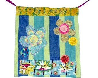 Colorful Fabric Scrap Flag,Happiness, wall hanging, garden flag, home decor, wall decoration