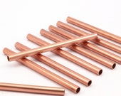 Copper Tube Beads - 12 Raw Copper Tubes  (4x60mm)  D476