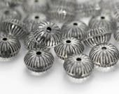 Crystal Gray Fluted Squashed Acrylic Saucer Beads 10mm (30)