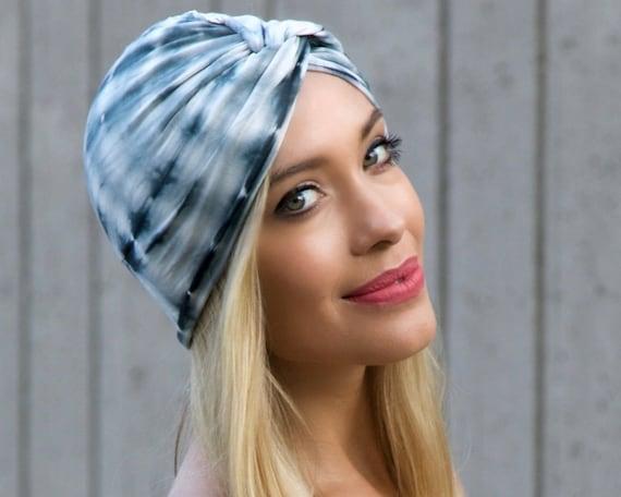 Tie Dye Shibori Turban Hair Accessory Chemo Hat Hair Covering Chemo Turban Retro Accessory Stretch Turban Tichel Hijab Head Scarf Festival