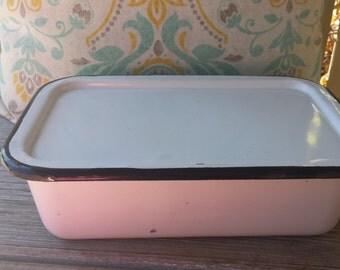 Vintage White Enamelware Refrigerator Box Set  / Enamel Storage Pan