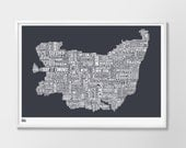 Suffolk, Suffolk Type Map, England Map, United Kingdom Type Map, Ipswich Map, Bury St. Edmunds, UK Map, Sudbury Map, Typography, Gift