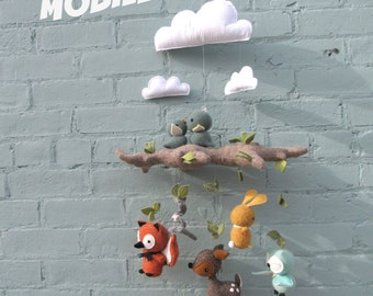 Woodland Animals Baby Mobile - Nursery, Unisex, Neutral, Decor, Mobile, Clouds, Animals, Forest, Baby