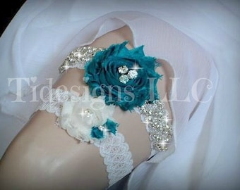 Teal Garter Set, Bridal garter, Wedding Garter, Luxury Garter Set,