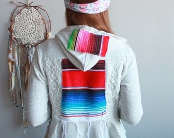 Crochet Heart Serape Peplum Cropped Hippie Bohemian Cardigan Sweater Hoodie Festival Kimono Eco Friendly Women Size XS