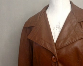 On Sale Wide Lapel Chestnut Brown Genuine Leather Womens Jacket | Vintage 1970s | Womens M Lg | Hippie Boho 70s Festival