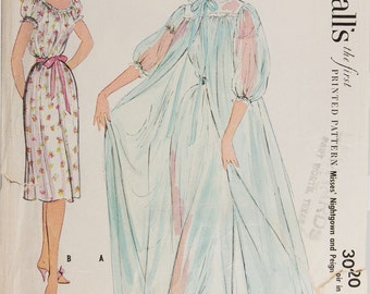 1954 Nightgown/Peignoir Pattern McCall's 3020, Long Robe, Size 14, Bust 32, Feminine Lingerie, Mid Century fashion