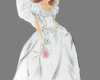 Vintage Wedding Dress, Simplicity 7429 Sewing Pattern, Bride Dress, Train, Romantic, Drop Waist, V Neck, Size 8-16, Bust 31-38, UNCUT