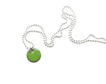 Tiny Green Pendant - Small Charm Necklace - Green Enamel Necklace with Delicate Sterling Silver Chain