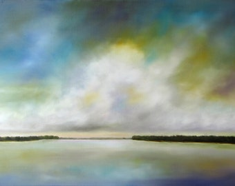 Large painting, modern, landscape, cloud painting, clouds, lake painting, home decor, lake house, Lake Clouds, 24x36