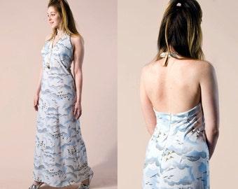 70s Cloud & Seagull Halter Maxi Dress | Medium