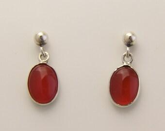 Carnelian small 8 x 6 mm  Oval drops on Sterling Silver stud earrings