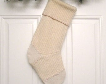 Cream Cable Knit Customized Christmas Stocking Personalized Holiday Decoration Handcrafted from Felted Wool Sweater no770