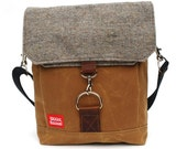 Waxed Canvas Satchel / Speckled Goose Recycled Wool & Oiled Leather