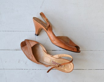 Bandolino peeptoes | vintage 1970s shoes | strappy leather 70s sandals 6.5