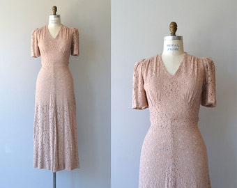 Rose Coeur dress | vintage 1930s dress | long 30s lace dress