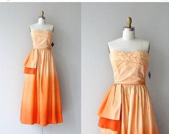 25% OFF SALE Alba Tramonto dress   vintage 1950s dress • strapless ombre 50s party dress