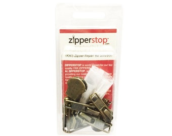 Zipper Repair Kit Solution 8 sets of YKK® Sliders Assorted Sizes - Includes Top & Bottom Stops Made in USA