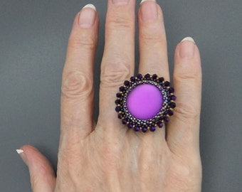 Purple Beaded Cabochon Ring Handmade, Adjustable Wide Silver Band, Luna Soft Lucite cabochon, Statement ring, Cocktail ring
