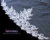 Long Bridal Veil, Radiance Veil, Cathedral Veil, 2 Tier Veil, Lace Trimmed Veil, Lace Applique Veil, Made-To-Order Veil, Handmade Veil