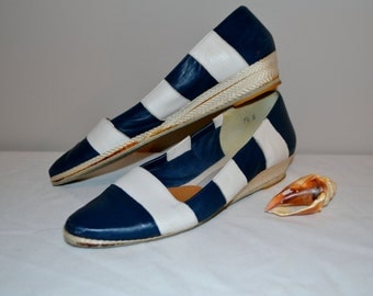SALE:........Espadrilles Vintage Navy with White Leather Nautical