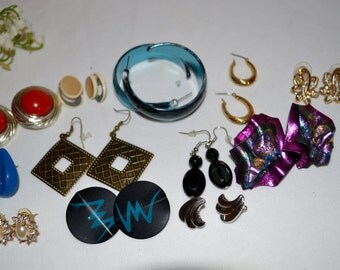 Vintage Earrings Hollywood to Hipster.....Twelve Pairs