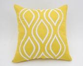 Ikat Pillow Cover,  Yellow Silver Ikat Embroidery, Yelllow Linen Pillow Case, Modern Home Decor, Geometric Toss Pillow, Pillow Shams