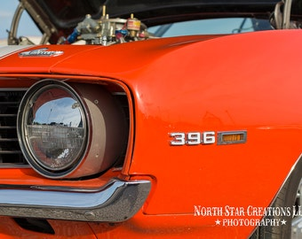 Orange Camaro, 396, Man cave, dad, father, greeting card, truck photograph, vintage, automobile, car, home decor, print, fathers day