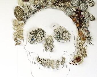Rhinestone Skull: Mixed Media Photo Print