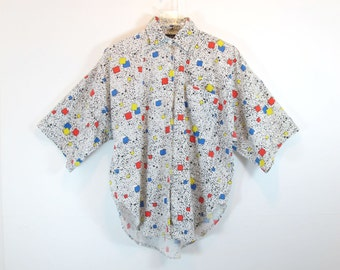 HEAT! Vintage Square & Squiggle Print Short Sleeve Button Up Shirt