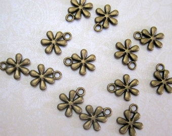 Bronze Flower Charms - Set of 15 - 14x10mm