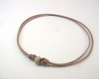 tan leather necklace with textured bead leather jewelry boho style 3998