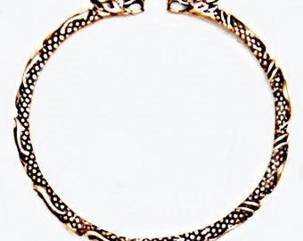 Nordic Viking Dragon Solid Bronze Cuff Bracelet Scandinavian Historical Costume Accessories for Women and Men