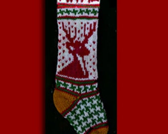 Hand knit Christmas stocking,  Personalized, made of pure wool yarn,  fully lined -- reindeer, gold toe and heel