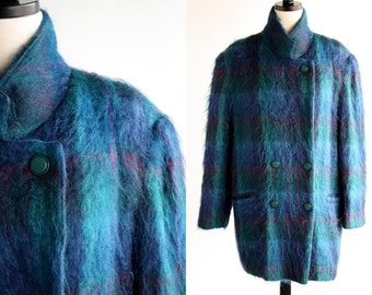 Ladies' Oversize Peacoat Style Mohair Teal Purple and Pink Tones 90's Vintage Coat Jacket